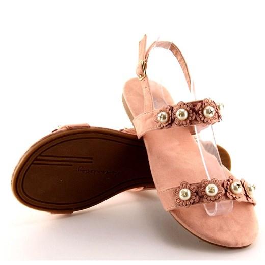 Sandały damskie Butymodne z klamrą w kwiaty