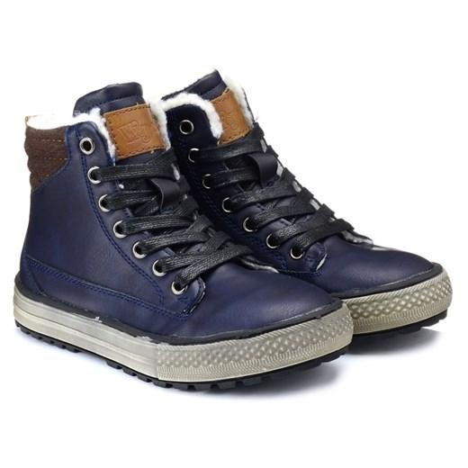 Wojtyłko buty zimowe dziecięce niebieskie wełniane trzewiki
