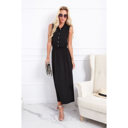 Sukienka czarna Fasardi prosta wiosenna Odzież Damska OZ czarny XTIK