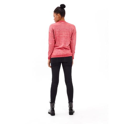 Sweter damski Gate z okrągłym dekoltem nylonowy Odzież Damska ZF różowy MQNV