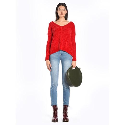 Sweter damski Gate w serek Odzież Damska HF czerwony LGPC