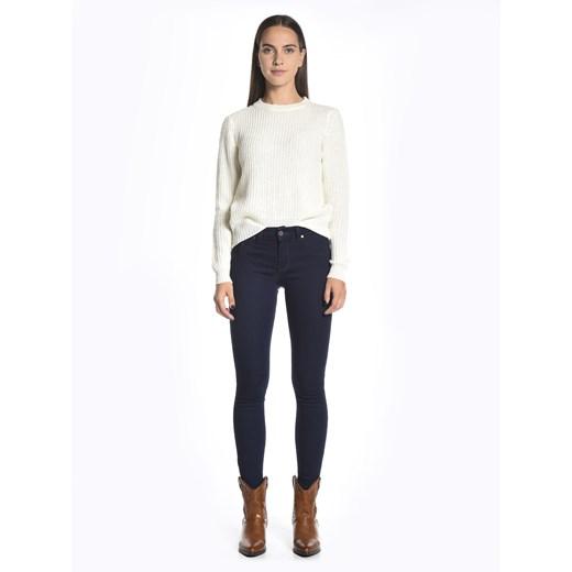 Gate sweter damski z okrągłym dekoltem Odzież Damska WS biały QYBN