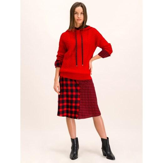 Sweter damski Hugo Boss z kapturem casual Odzież Damska OA czerwony APGB