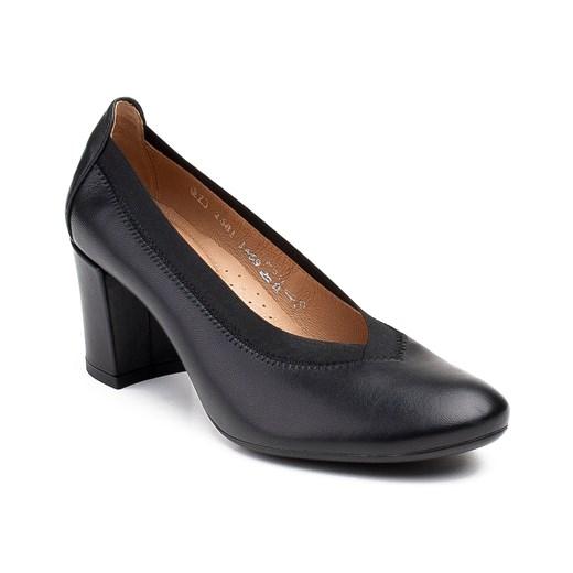 Półbuty damskie Marco Shoes czarne bez zapięcia eleganckie na obcasie fl5ar