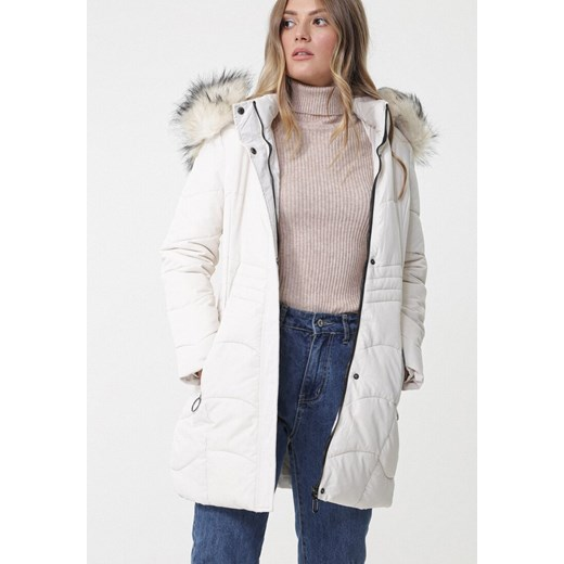 męska długa biała kurtka z futerkiem