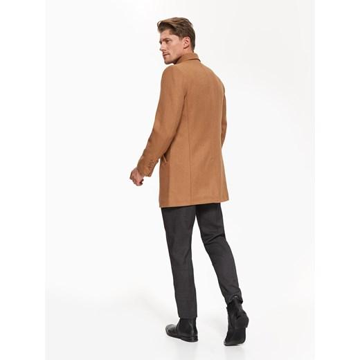klasyczny płaszcz męski z wełnianej tkaniny