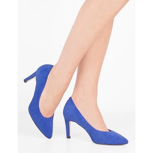 Czółenka niebieskie Brilu eleganckie ze szpiczastym noskiem