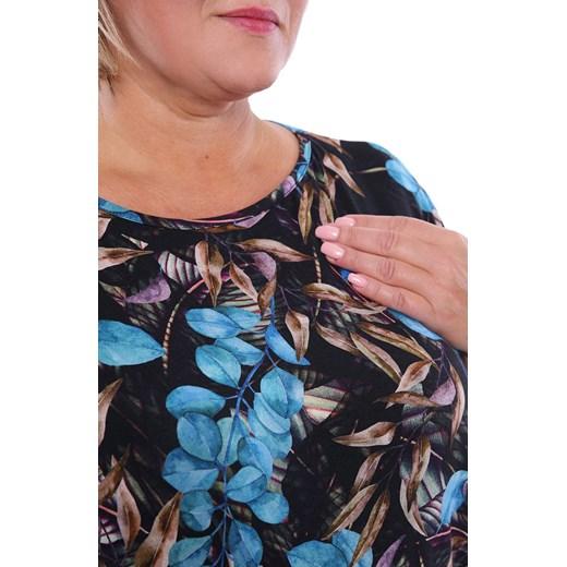 Sukienka midi z okrągłym dekoltem dla puszystych z długimi rękawami