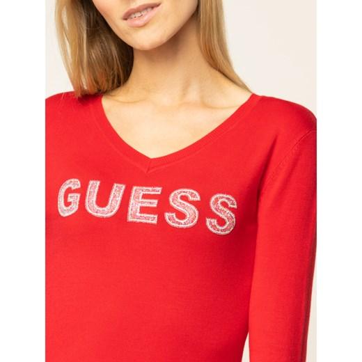 Sweter damski Guess z dekoltem w serek Odzież Damska FJ czerwony OAVA