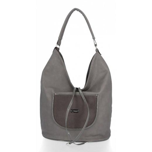 Shopper bag Conci na ramię z zamszu duża zamszowa w Domodi