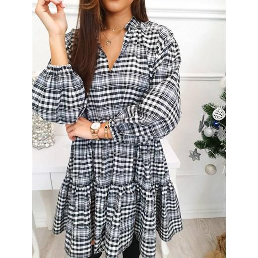 Sukienka dzienna z długimi rękawami luźna mini z bawełny Odzież Damska MJ szary ZUFG