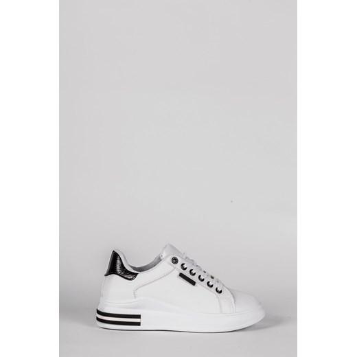 Buty sportowe damskie bez wzorów sznurowane płaskie ze skóry