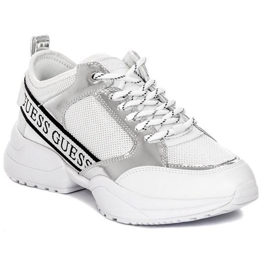Sneakersy damskie Guess w nadruki białe sportowe wiązane na