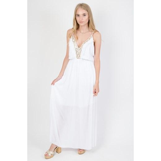 Olika sukienka z dekoltem w serek biała prosta na