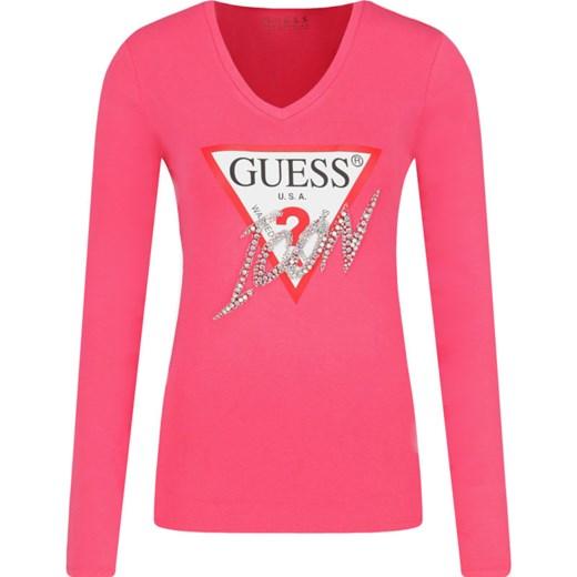 Bluzka ICON | Slim Fit Guess Jeans | Różowy | Gomez.pl