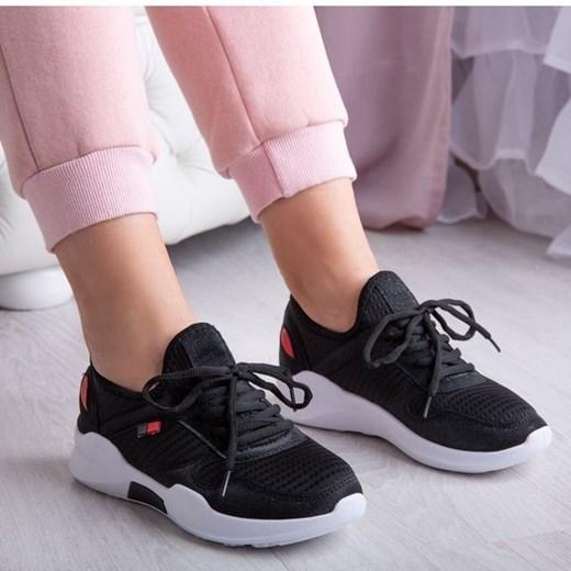 Czarne buty sportowe damskie Royalfashion.pl sznurowane bez