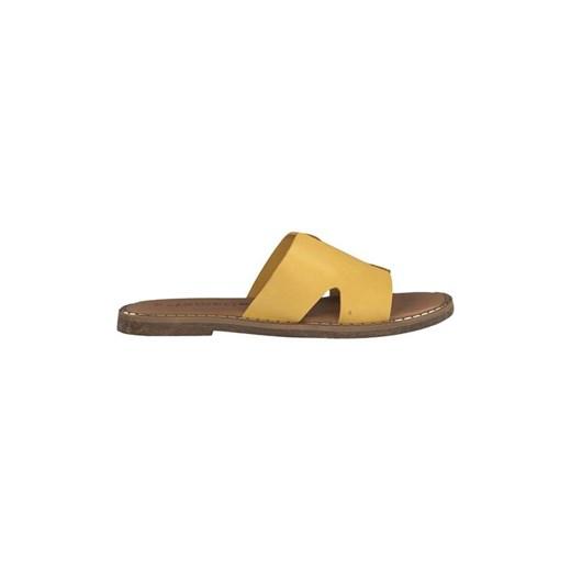 sandały skórzane żółte płaskie