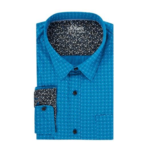 Koszula męska S.oliver Plus w abstrakcyjnym wzorze z długimi  q3kBa