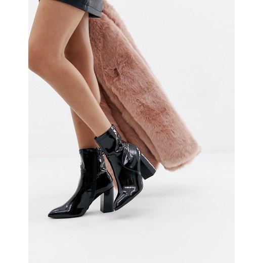 Public Desire – Czarne botki na platformie z wysokim obcasem