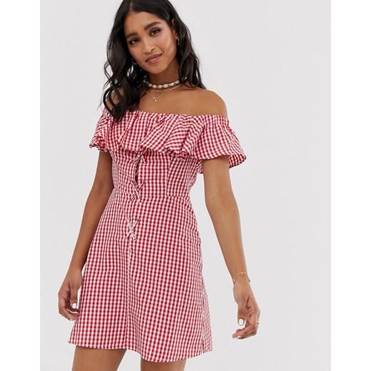 Sukienka Asos z odkrytymi ramionami z krótkimi rękawami na co dzień mini Odzież Damska VH różowy EAWI