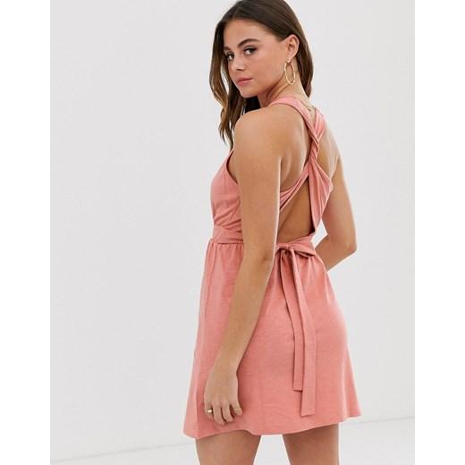 ASOS DESIGN - Letnia sukienka mini wiązana z tyłu-Różowy Poland Odzież Damska DN różowy XDLR