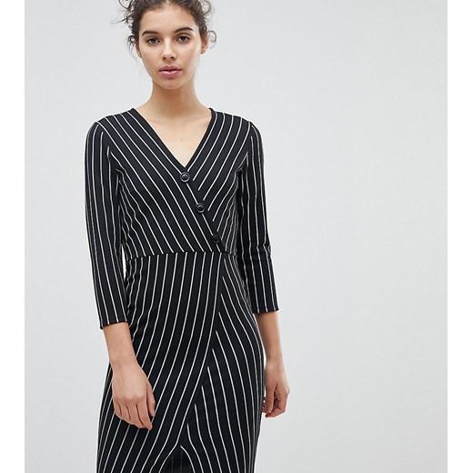 Miss Selfridge sukienka dopasowana z długim rękawem z dekoltem w serek na co dzień Odzież Damska EI czarny QDNB