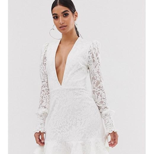 Sukienka John Zack Petite Odzież Damska IA biały EPOE
