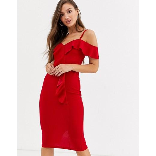 Sukienka Ax Paris na randkę czerwona z krótkim rękawem z dekoltem w serek Odzież Damska JC czerwony NBJU