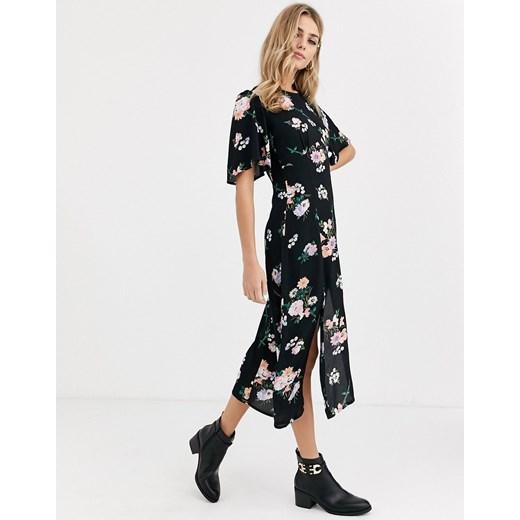 Miss Selfridge sukienka z okrągłym dekoltem na spacer z długimi rękawami Odzież Damska TP czarny ERNW
