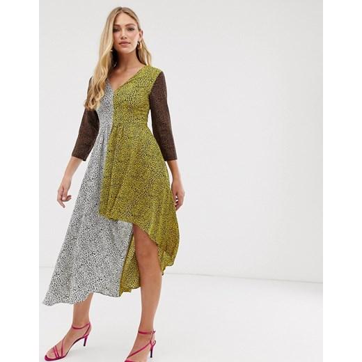 Sukienka Liquorish w zwierzęcy wzór z dekoltem v wielokolorowa Odzież Damska GT wielokolorowy UXAQ