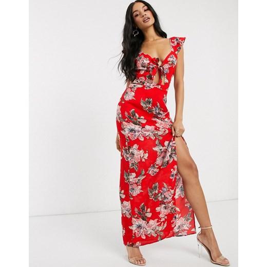 Czerwona sukienka Pretty Darling na ramiączkach maxi Odzież Damska GV czerwony KEHJ