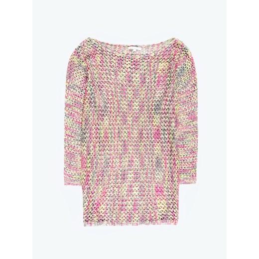 Sweter damski różowy Gate z okrągłym dekoltem Odzież Damska ZP różowy GNWS