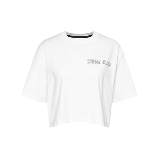Bluzka damska Calvin Klein biała z krótkim rękawem z okrągłym dekoltem J3kS6