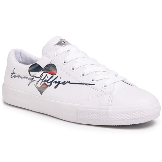 Trampki TOMMY HILFIGER - Low Cut Lace Up Sneaker T3A4-30600-0924 S White 100