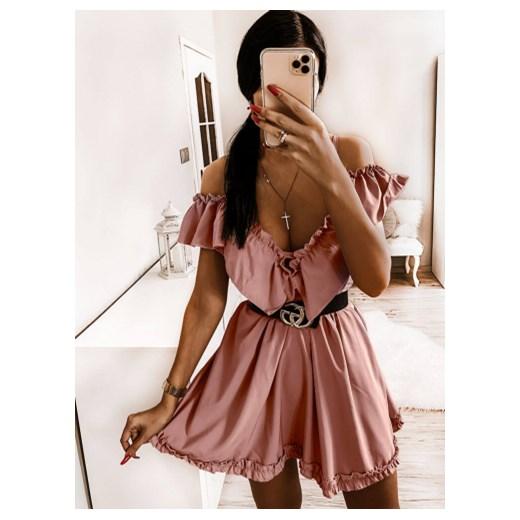 Sukienka Pakuten rozkloszowana różowa casual dzienna mini w
