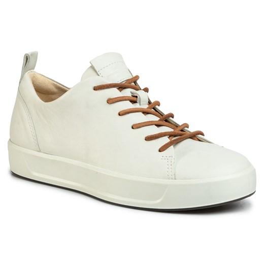 Buty sportowe damskie Ecco białe sznurowane gładkie skórzane