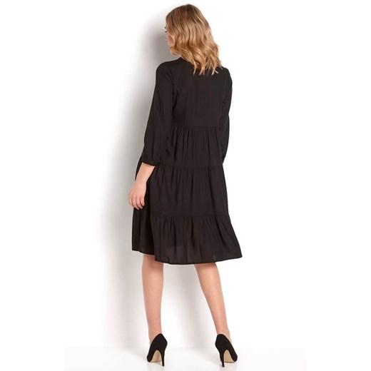 Sukienka Happy Holly bez wzorów dzienna mini z długim rękawem Odzież Damska TV czarny GNDJ