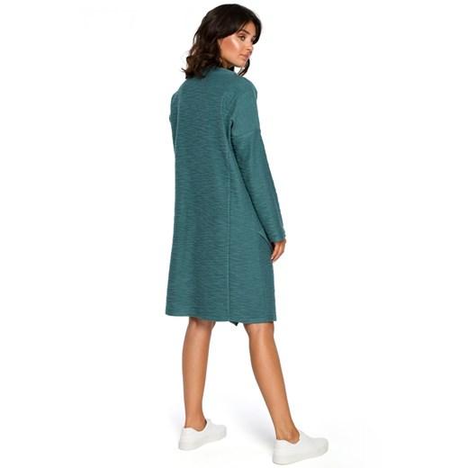 Sukienka zielona Be midi z długimi rękawami bez wzorów asymetryczna luźna Odzież Damska NG zielony KNUH