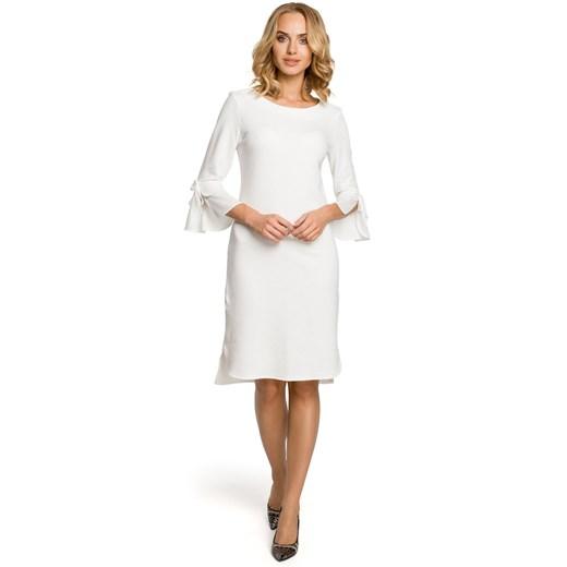 Sukienka Moe bez wzorów z okrągłym dekoltem mini dzienna Odzież Damska WS biały FYWY