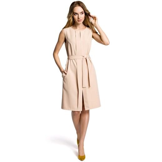 Sukienka Moe z okrągłym dekoltem Odzież Damska PS beżowy TFWX