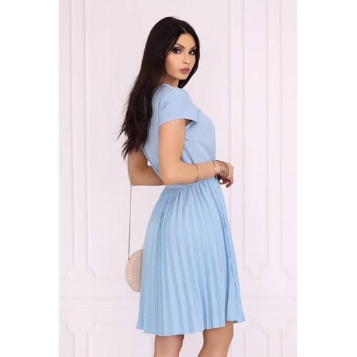 Sukienka Merribel na urodziny z krótkim rękawem midi trapezowa Odzież Damska ON niebieski ADAC