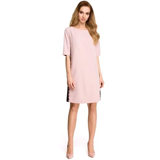 Sukienka Style luźna Odzież Damska XW różowy NLSX