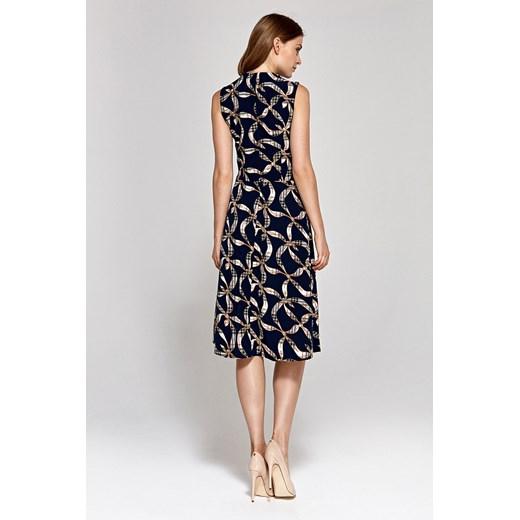 Sukienka Colett z okrągłym dekoltem bez rękawów dzienna rozkloszowana Odzież Damska BB wielokolorowy DWGP