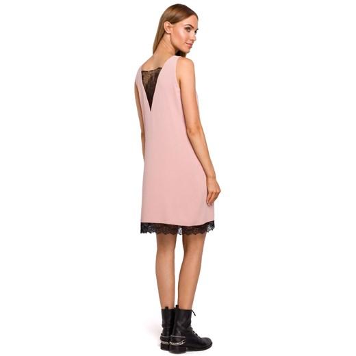 Sukienka Moe z elastanu Odzież Damska FY różowy BEVO