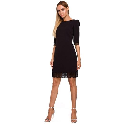 Sukienka Moe z elastanu z okrągłym dekoltem Odzież Damska AR czarny MOQM