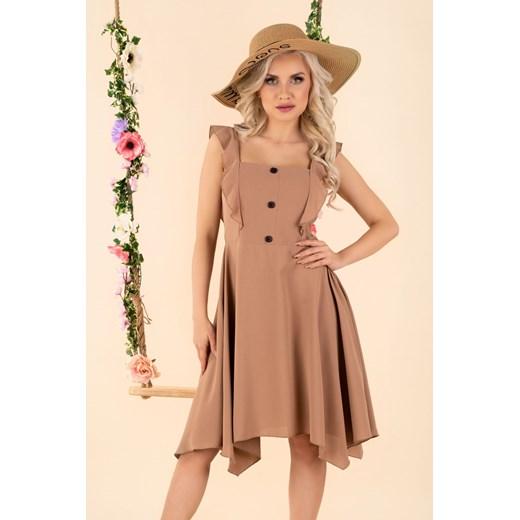 Sukienka Merribel brązowa midi Odzież Damska RA brązowy BYMH