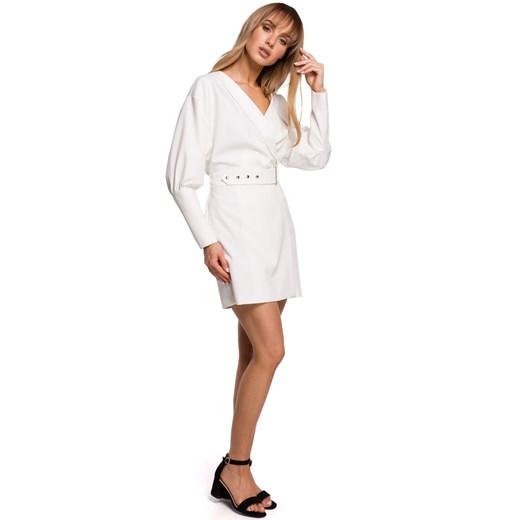Sukienka Moe mini z paskiem z długim rękawem Odzież Damska UL biały IULU