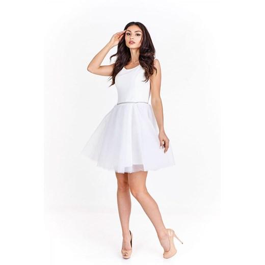 Sukienka koktajlowa z szyfonowym dołem  Manumo lXYnm