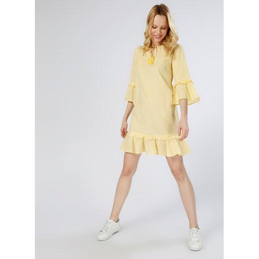 Sukienka Vero Moda z długim rękawem bez wzorów Odzież Damska SF żółty JTFW
