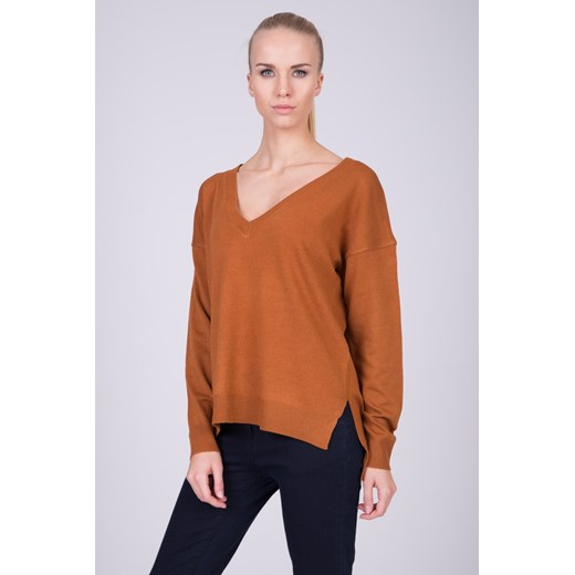Sweter damski Quiosque w serek Odzież Damska IY pomarańczowy ZKVL